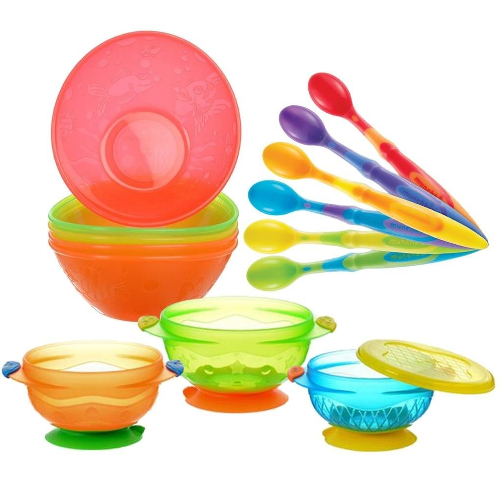 Munchkin 6-Pack Soft-Tip Infant Spoons with 5 Pack Multi Bowl Set & 3 Count Stay Put Suction Bowls
